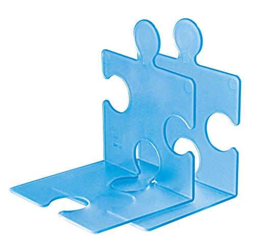 Preisvergleich Produktbild HAN 9212-64, CD-Ständer/Buchstütze PUZZLE, Schick, Innovativ und sehr Standfest. Beliebig verkettbar, Set mit 2 Stück, transluzent-blau