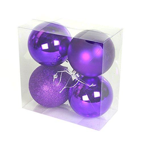 Festive Lights Idée Décoration Noël - Assortiment 4 Boules à Suspendre 10cm Incassables (Violet)