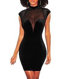 ccad3d77f78c Toocool - Vestito Donna Miniabito Velluto Elegante Sera Schiena Nuda Velato  Sexy DL-2245
