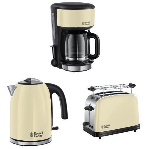 Russell Hobbs Colours Plus+ Glas-Kaffeemaschine + Colours Plus+ Classic Cream Wasserkocher + Colours Plus+ Classic Cream Toaster