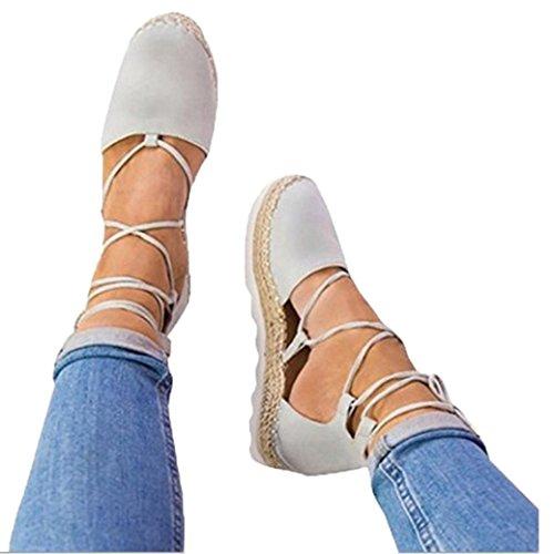 VJGOAL Damen Sandalen, Damen Roman Flat Lace-up Espadrilles Sommer Chunky Urlaub Sandalen Schuhe Strap Schuhe (40 EU, Grau)