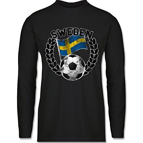 Shirtracer Fußball-WM 2018 - Russland - Sweden Flagge & Fußball Vintage - Herren Langarmshirt Schwarz