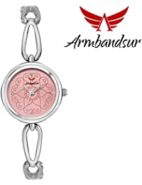 Armbandsur silver case pink dial watch-ABS0057GSP