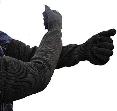 Buwico? Kevlar Sleeve Arm Protection Sleeve Level 5 Anti-Cut Anti-Shield 55cm (21.6 Inch) Long Sleeve Cut & Slash Resistant, Black (2) by Buwico