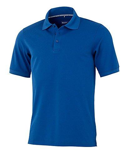 agon – Premium Herren Pique Polo-Shirt, bügelfrei, Coolmax, Coldblack, UV-Schutz, Geruchsblocker, atmungsaktiv, Kurzarm Seeblau 50/M