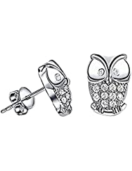 Hosaire 1 Pair Fashion Elegant Silver Lovely Animal Owl Shape Crystal Ear Stud Earrings For Women Girls Christmas Jeweley Gifts