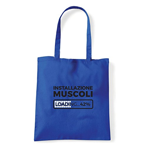Art T-shirt, Borsa Shoulder Installazione Muscoli, Shopper, Mare Blu