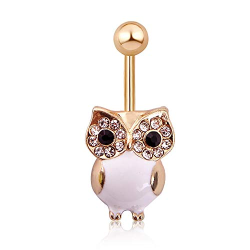 8Eninine Q01382 Owl Set with Opal Navel Ring Crystal Belly Button Ring Sexy Jewellery White Gold Rod (Sexy Navel Ringe)