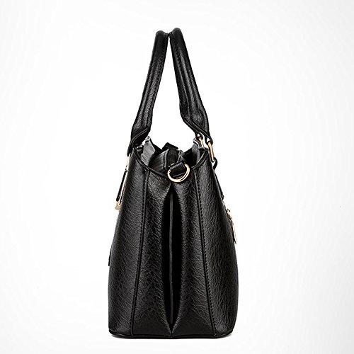 Greeniris Damen Schultertasche PU-Leder Top-Handtasche für Frauen Silber Schwarz