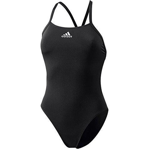 adidas Damen Solid Badeanzug, Black/Grey, 38 (Schwarz Solid-bikini-badeanzug)