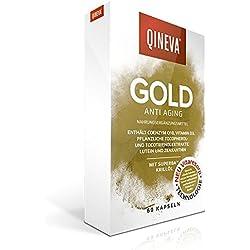 QINEVA GOLD - Anti Aging - Coenzym Q10 - Lutein - Vitamin D3 - Zeaxanthin - Tocopherole - natürlich//sicher//effektiv