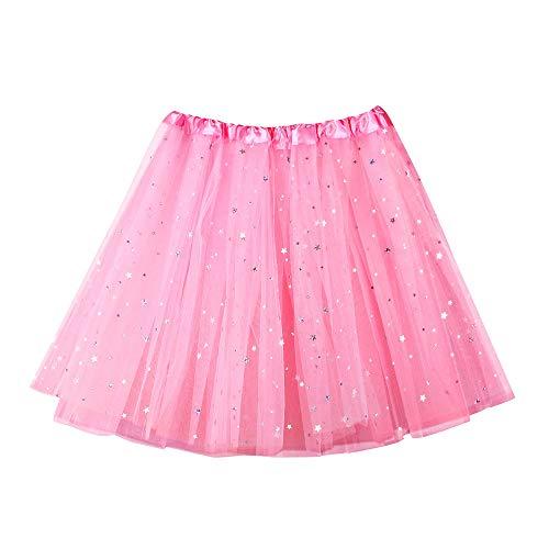 WOZOW Tüllrock Damen Einfarbig Sterne Minirock Umfang Tanzkleid Multi-Schichten Crinoline Petticoat Party Halloween Karneval Kostüm Frauen (50-110,helles ()
