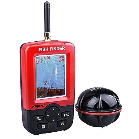 Kupet Sondeur Peche,Echos Détecteurs de Poissons Sans Fil, Technologie Ultrason Portable Fish Finder Profondeur Matrice de Points Sondeur avec LED Écran