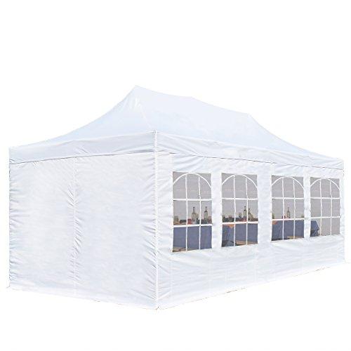 TOOLPORT Faltpavillon Pavillon Economy 3x6 m - mit Seitenteilen in weiß Partyzelt Gartenzelt Wasserdicht