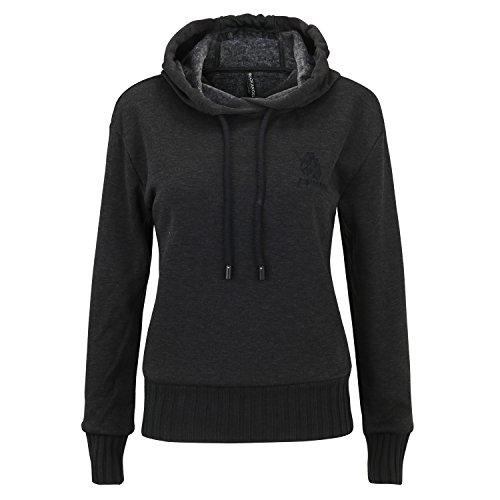 ROCK ANGEL Damen Sweatshirt mit Kapuze Freizeit Hoodie CL 1755A (S, Grau)