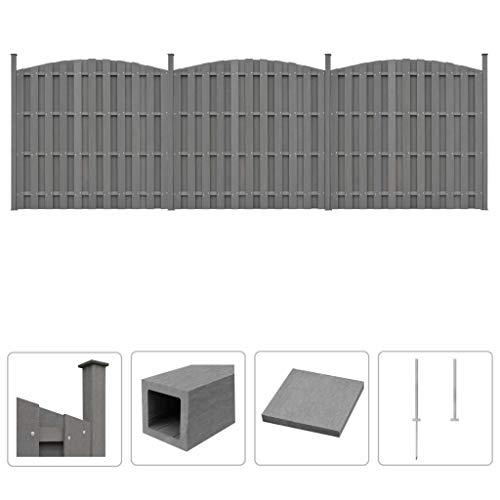 Festnight WPC Zaun-Set   Zaunpaneel-Set   Gartenzaun   Sichtschutzzaun   Dichtzaun   Zaunelemente   Windschutz Zaun   Grau 3 Geschwungen 562 x (165-185) cm