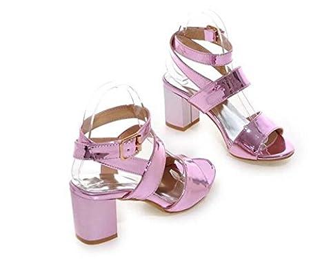 Brauqueen Pompes Sandales Été Femmes Filles Casual Mid Heel Ankle Trip Plain Buckle Confortable Simple Shoes Europe Standard Taille 33-43 , pink , 42 (not returned)