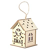 Toyvian Mini Wood Christmas Village Light Up Christmas Ornament Glowing House Lit Building Christmas Hanging Ornament Gift