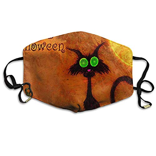 Fashion Outdoor Mouth Mask with Design, Reusable Half Face Mask Anti-dust Mask, Unisex Face Mask Anti-Dust Respirator Gift Happy Halloween Black Cat with Pumpkin Bat On The Moon.jpg (Für Halloween Design Cat Face)