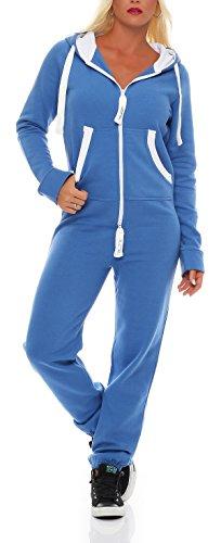 Damen Jumpsuit Jogger Jogging Anzug Trainingsanzug Einteiler Overall 9t5 hellblau M