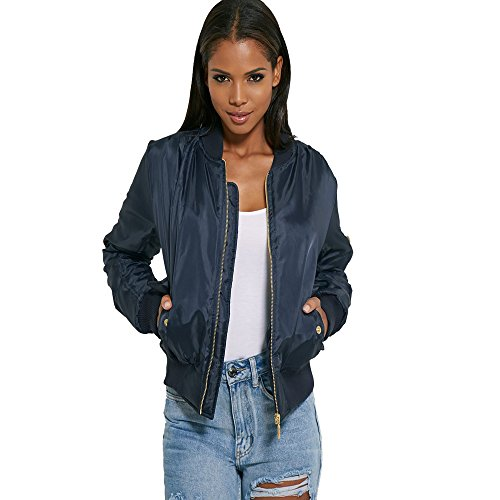 New Ladies Womens Girls Padded Stylish Ma1 Bomber Jacket Coat Top Size 6-26 (UK SIZE L/12, NAVY)
