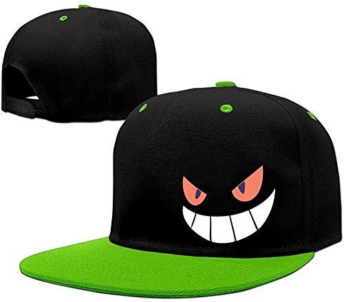 Hittings Gengar Halloween Face Snapback Hats Flat Brim Hip-Hop Caps Kellygreen (Halloween Texas Arizona)