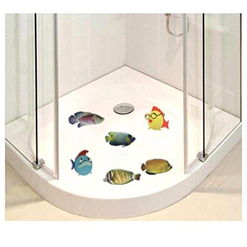 Anti Rutsch Sticker für Duschen 6 er Set Motiv Fische Badewanne Dusch Bad