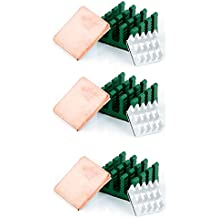 Aukru 9 en 1 Disipador de calor heatsinks (aluminio & Cobre) para Raspberry Pi 3 Model B/ Pi 2 Model B
