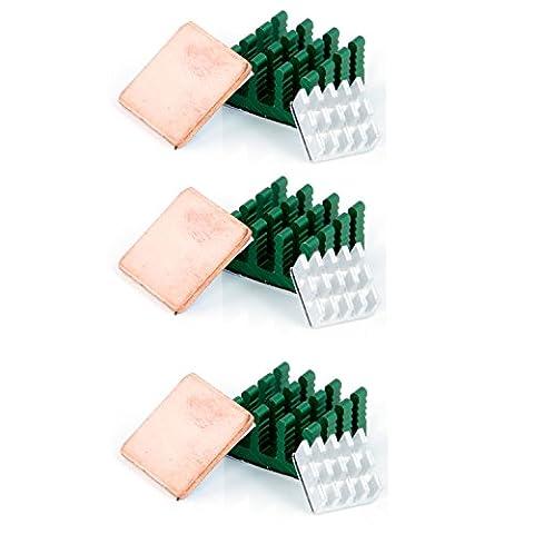 Aukru 3 x kit de deux Dissipateur thermique en Aluminium et un Heatsink en Cuivre Baisser le température pour Raspberry Pi 3 Model B/ Pi 2 Model