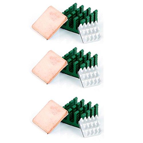 Aukru 3 x kit de Deux Dissipateur Thermique en Aluminium et Un Heatsink en Cuivre Baisser Le température pour Raspberry Pi 3 Model B+ / Pi 3 Model B/Pi 2 Model B