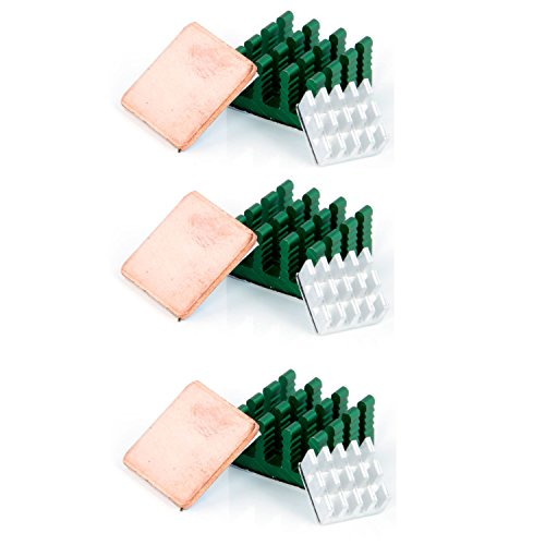 ühlkörper Heatsinks Kühlung für Raspberry Pi 3 Model B Raspberry pi 2 Model B mit Selbstklebend (1x Kupfer & 2X Aluminium) ()