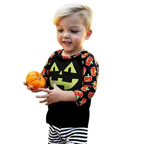 (QinMM Kleinkind Baby Mädchen Jungen Langarm Kürbis Print Tops Halloween Outfits Kleidung Schwarz Für 12 Monate-4 Jahre (18M, Schwarz))