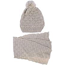 d042258394c LEORX - Femme - Ensemble d hiver en tricot écharpe et bonnet - Beige