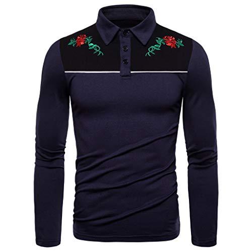 Realde Herren Polo Langarm Hemd Sweatshirt Sport Lose Blumendruck Oberteil T-Shirt Herbst und Winter Passt super auch zur Jeans Männer BequemTops Größe S-XXL Zoo York-core