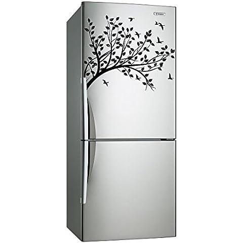 Adhesivo decorativo para pared (40 x 31 cm) diseño de árbol con hojas rama con pájaros e/lámina de decoración de diseño de/DIY diseño de bosque de tela + adhesivo de vinilo al azar incluye caja de regalo