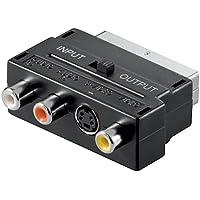 Conector Adaptador de euroconector, Scart (21-pin), Negro–Euroconector > 3x conectores RCA + 4pines Mini DIN hembra de
