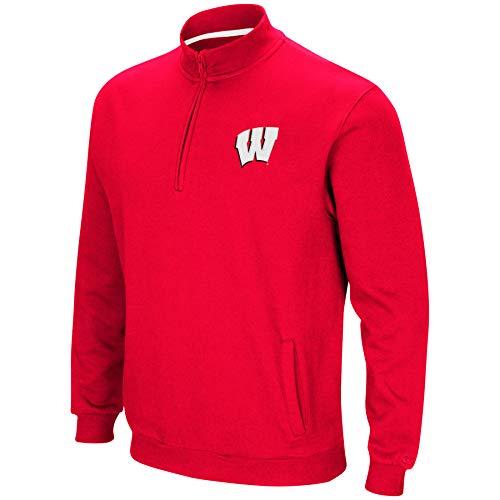 Colosseum NCAA Herren Tailgater Baumwoll-Polyfleece 1/4 Zip Pullover, Herren, Wisconsin Badgers-Cardinal, Large
