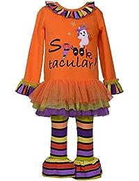 995f9f34f2f7 Bonnie Jean Girl's Halloween Spooktacular Applique Tutu Shirt and Leggings  Set