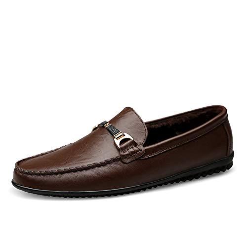 GYB Herren Penny Loafers Schuhe für Männer Mokassins Boot Casual Slip On Wohnungen Bequeme Schuhe Kleid Schuhe Lederschuhe für Herren (Color : Warm Dark Brown, Größe : 40 EU) -