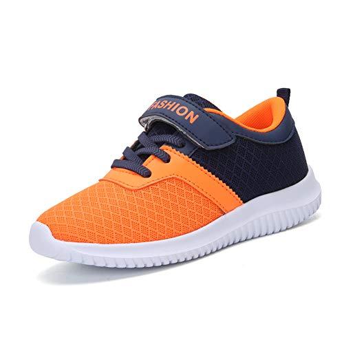 Minbei Unisex Kinder Hallenschuhe Klettriemen Jungen Sneakers Atmungsaktive Sportschuhe Laufschuhe Mädchen Leichte Turnschuhe Orange 36 EU (Schuhe Mädchen Für Orange,)