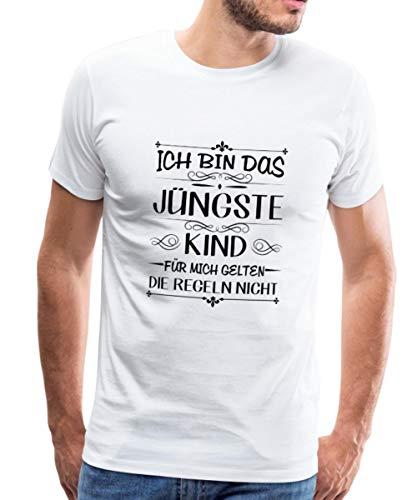 Spreadshirt Geschwister Regeln Witziger Spruch Jüngstes Kind Männer Premium T-Shirt, L, Weiß - Jüngstes Kind