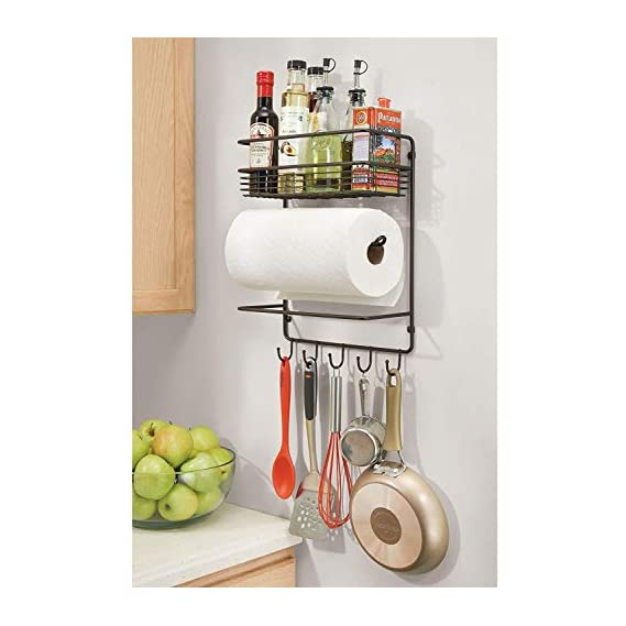 Decorlay Iron Wall Mount Paper Towel Holder with Storage Shelf and Hooks for Kitchen, Laundry, Pantry, Bathroom | Black