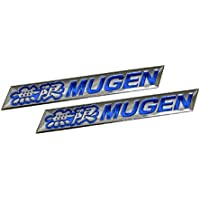 2 x (pair/set) Mugen Embossed BLUE on Highly Polished Silver Real Aluminum Auto Emblem Badge Nameplate for Honda Acura Civic Fit Prelude Integra RSX Accord ...