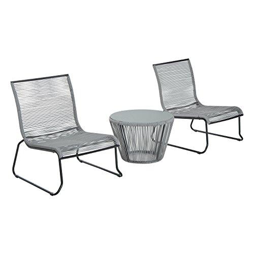 Outsunny 3Rattan Tisch Set Stühle OUTDOOR Garten Wicker 2-Sitzer Bistro Set