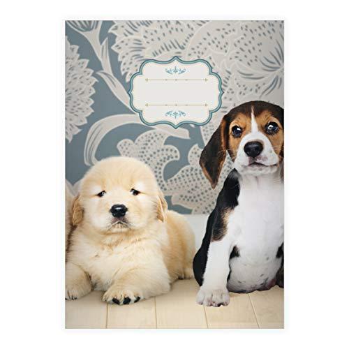 (4 süße Hunde Baby DIN A5 Schulhefte, Schreibhefte mit kleinen Welpen, blau Lineatur 6 (blanko Heft 16 Blatt/32 Seiten) Notizheft, Kladde für Schule, Universität, Büro)