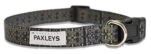 paxleys Luxus Verstellbar Schwarz und Gold Muster Hunde Halsband Größen Medium und Large (mittel) -