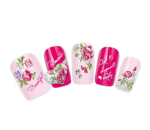 Nicedeco-Autocollant de Transfert des Ongles Décalcomanies Bricolage Magnifiques Fleurs Sauvage Roses