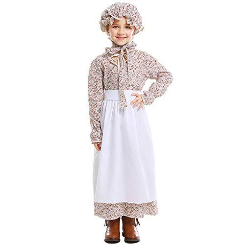 QYS Kind Mädchen Colonial Bauer Kostüm Märchen Prinzessin Kostüm Dienstmädchen Kostüm viktorianischen Prärie Kleid mit Hut,M