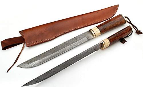 Epician Mittelalter Damast ArbeitMesser mit schwarzholz mit Lederscheide SaxStyle