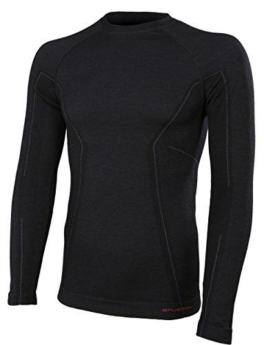 Brubeck Merino Herren Langarm Funktionsshirt | Atmungsaktiv | Thermo | Sport | Fitness | Unterhemd | Unterwäsche | 41% Merino-Wolle | LS12820 L Schwarz